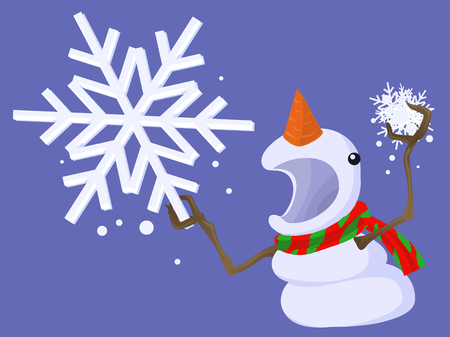 Snowman holding snowflake angry threatening cartoon character, vector illustration. Ilustração