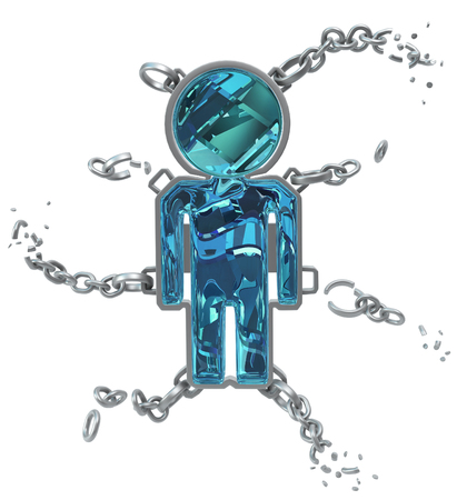 break chain: Color crystal figure jewelry chains isolated, 3d illustration, vertical