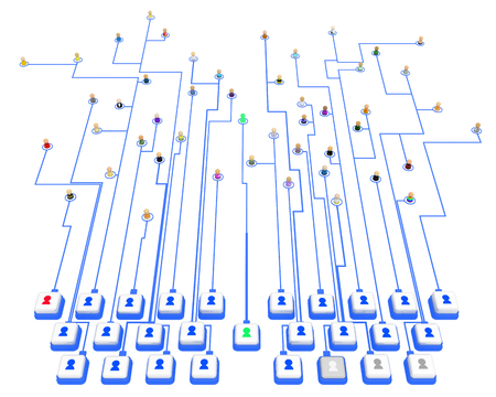 Crowd of small symbolic 3d figures linked by lines, system buttons keyboard, over white, isolated, horizontal