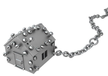 Metal plate small house symbol one chained, 3d illustration, horizontal, isolated, over white