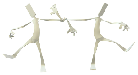 Paper man symbolic figure pose standing two with arms tied together, 3d illustration, horizontal, isolated Stock Photo