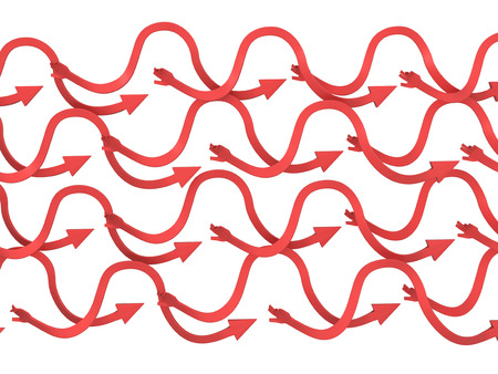 Red arrow long arm symbols, 3d illustration, horizontal, isolated, over white