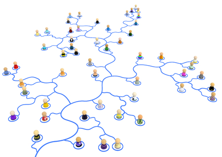 Crowd of small symbolic 3d figures linked by wiggly lines, over white, isolated, horizontal