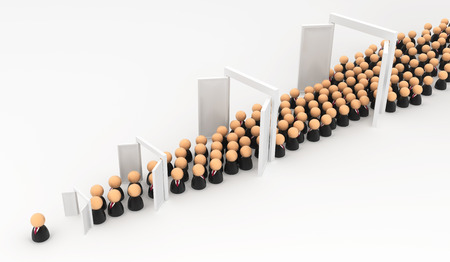conformity: Crowd of small symbolic businessmen figures, promotion doors, 3d illustration, horizontal, over white