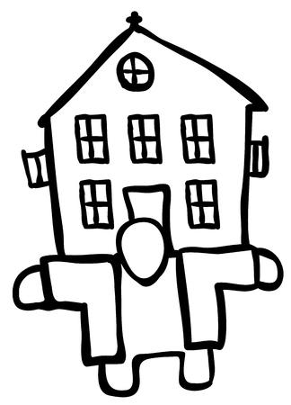 House holder figure drawing black, vector illustration, horizontal, isolated