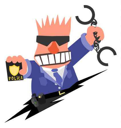 Policeman angry arresting cartoon, vector illustration horizontal, over white, isolated Illustration