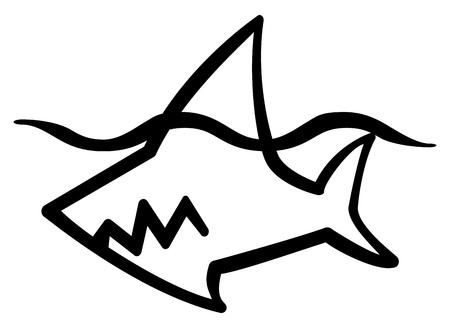 Shark swimming stylized stencil black Ilustrace