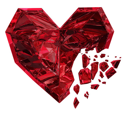 Color crystal jewel heart break red, over white, 3d illustration isolated, horizontal