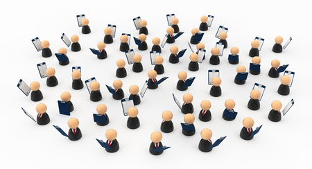 Crowd of small symbolic businessmen figures with clipboards, 3d illustration, horizontal, over white