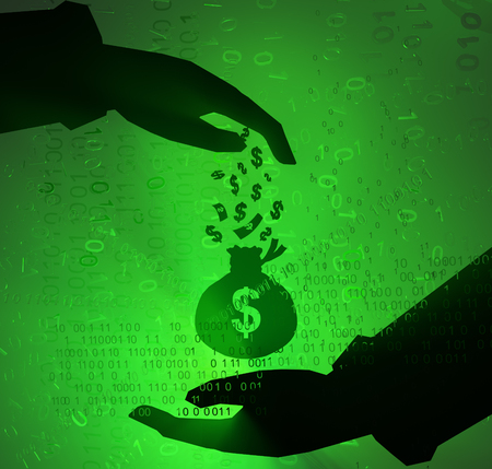 Cyberspace virtual reality abstract 3d illustration, shadow hands cash payment, horizontal Фото со стока