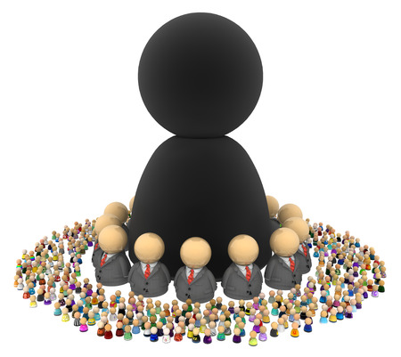 Crowd of small symbolic figures with bigger shape, 3d illustration, horizontal, isolated, over white