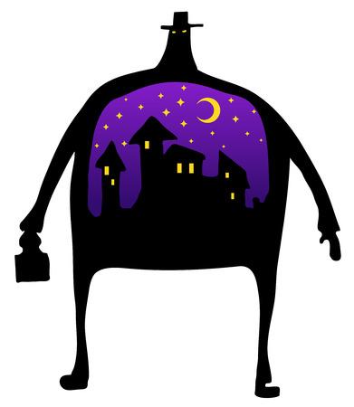 Vectorillustratie van het het cijfer de zwarte silhouet van de nachtmens horizontaal op witte achtergrond Stock Illustratie