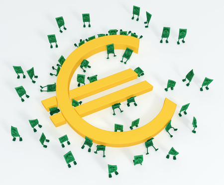 Dollar money symbol cartoon characters with Euro, 3d illustration, horizontal, over white 版權商用圖片