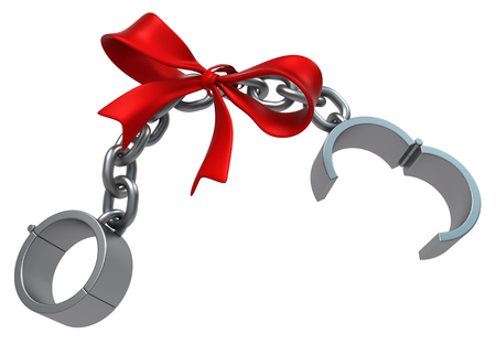 Shackles gift open chain grey metal 3d illustration, isolated, horizontal, over white Stock Photo