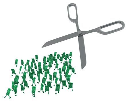 Personnages de dessins animés dollar argent courant de ciseaux, illustration 3d, horizontale, isolée, sur blanc Banque d'images - 92572565