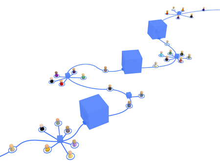 Crowd of small symbolic 3d figures linked by lines block chain, over white, isolated, horizontal Stock Photo