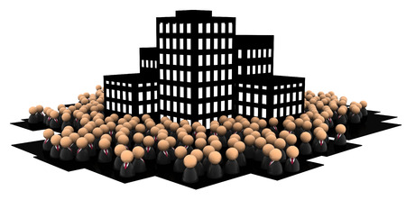 小さな象徴的なビジネスマンの数字、暗いオフィスビル、3Dイラスト、水平、白の上に、孤立した群衆