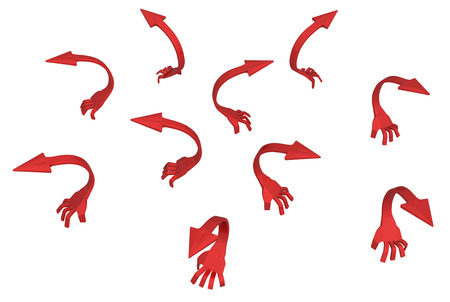 Red arrow short creeping arm symbols group, 3d illustration, horizontal, isolated, over white