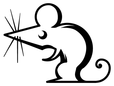Mouse symbol stylized stencil black, vector illustration, horizontal, isolated