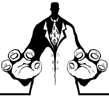Bureaucrat figure grab stencil black cartoon, vector illustration, vertical, isolated Illustration