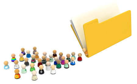 Crowd of small symbolic figures pouring from document folder, 3d illustration, horizontal, isolated, over white Stock Photo