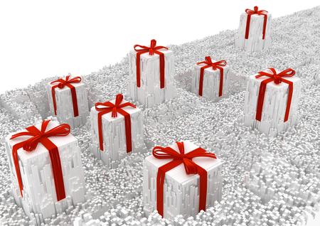 Gifts celebration holiday large surreal shredded fragments 3d illustration, white horizontal background corner isolated Stock Photo