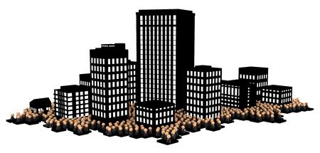 小さな象徴的なビジネスマンの数字、暗いオフィスビル都市、3Dイラスト、水平、白の上に、孤立した群衆