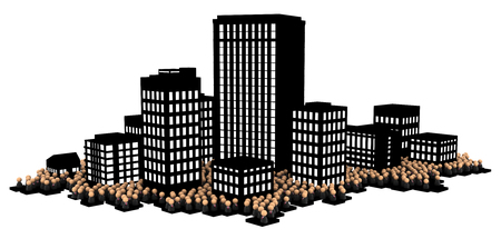 Crowd of small symbolic businessmen figures, dark office buildings city, 3d illustration, horizontal, over white, isolated