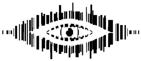 Barcode spy eye symbol stylized stencil black, vector illustration, horizontal, isolated, over white Illustration