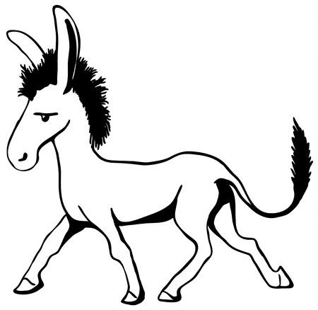 Trotting donkey cartoon line drawing, horizontal, vector illustration, isolated