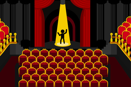 Theater unattended performance spotlight cartoon, dark red and gold vector illustration horizontal Illustration