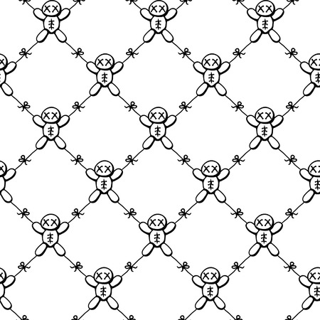Voodoo dolls tied together restricted movement net, seamless texture pattern, vector illustration, square, over white