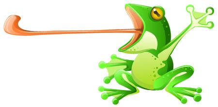 개구리 긴 혀 확장, 벡터 만화 그림 흰색 위에 가로, 녹색 디자인 요소, 흰색 배경에 고립.