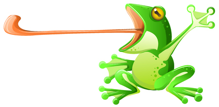 Frog long tongue extended, vector cartoon illustration horizontal, green design element, over white, isolated on white background. Ilustracja