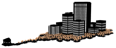 Crowd of small symbolic businessmen figures, dark office buildings city commute, 3d illustration, horizontal, over white, isolated