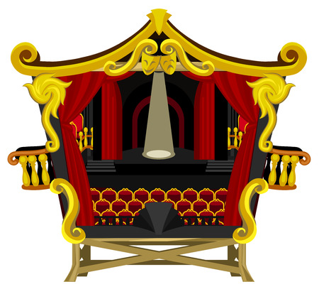 Small theater cartoon, red and gold. Vector illustration horizontal, isolated.