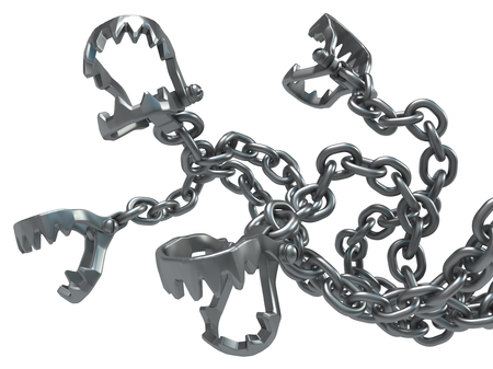 Metal chain jaws clamps, dark metal 3d illustration, isolated, horizontal, over white Stock Photo