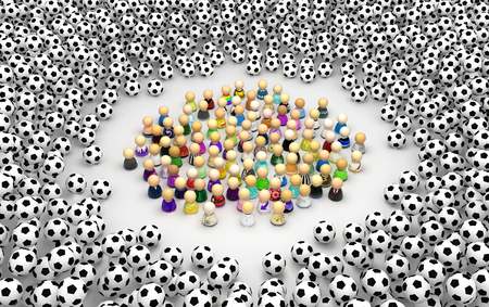 Crowd of small symbolic figures surrounded by footballs pile, 3d illustration, horizontal, over white