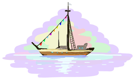 Boat voyage painting fragment, vector illustration, horizontal, isolated
