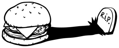 Hamburger sandwich gravestone shadow cartoon line drawing, horizontal, vector illustration, isolated Illustration