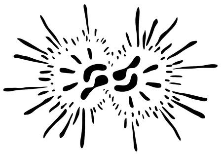 Double hand print symbol ink splatter stylized, vector illustration, horizontal, isolated Illustration
