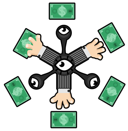 Money grabbing arms design surreal, stylized vector illustration color cartoon, horizontal, over white, isolated