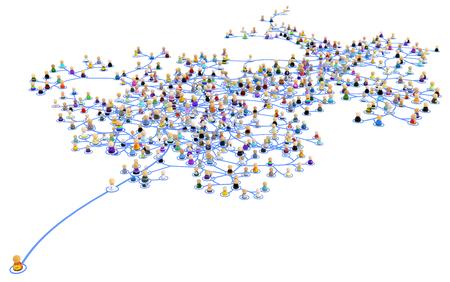 Foule de petites figures symboliques 3d reliées par des lignes système de réseau en couches, une se démarquant, sur blanc, horizontal