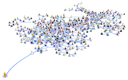 Crowd of small symbolic 3d figures linked by lines layered network system, one standing out, over white, horizontal