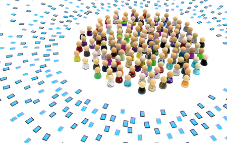 Crowd of small symbolic figures surrounded by phone gadgets, 3d illustration, horizontal, isolated, over white