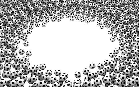 Footballs pile surrounding empty spot, 3d illustration, horizontal, over white