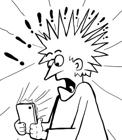 Figura teléfono gadget sorprendido dibujo lineal de dibujos animados, horizontal, ilustración vectorial, aislado