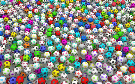 Footballs many color filling screen, 3d illustration, horizontal, over white