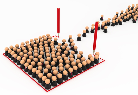 Crowd of small symbolic businessmen figures, red line box draw, 3d illustration, horizontal, over white, isolated
