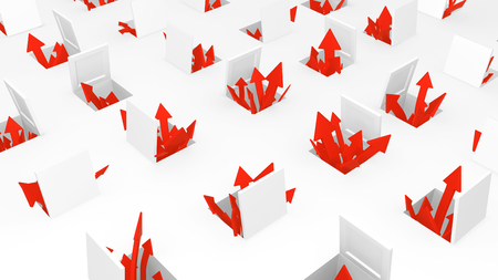 Red symbolic arrows emerging from open hatches, 3d illustration, horizontal, over white